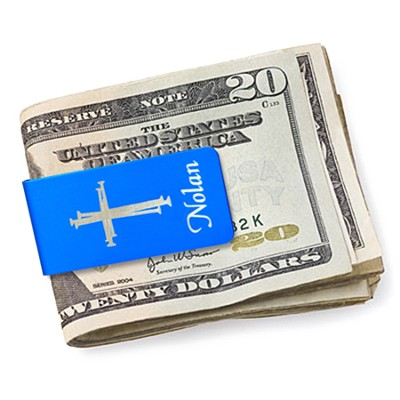 Personalized, Money Clip with Cross and Name, Blue   -