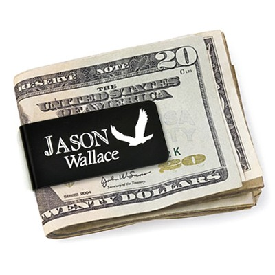 Personalized, Money Clip with Eagle and Name, Black   -