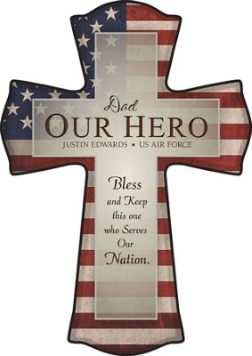 Personalized, Our Hero Flag-Print Cross   -