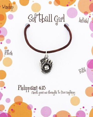 Softball Necklace, Philippians 4:13  -