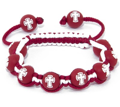 Cross Bead Bracelet, Red  -