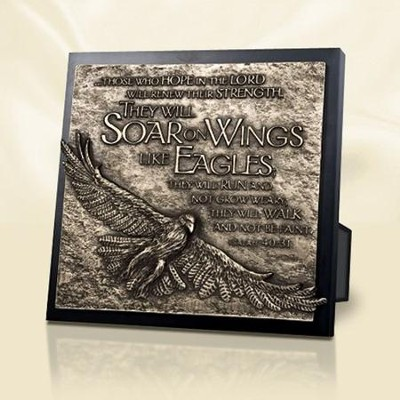 Moments of Faith Sculpture Plaque, Soar on Wings of Eagles  -