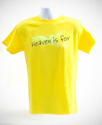Heaven is For Real Shirt, Yellow, Large  -