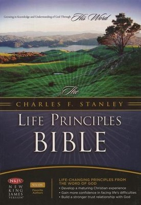 NKJV Charles Stanley Life Principles Bible, Bonded leather, black--indexed  -