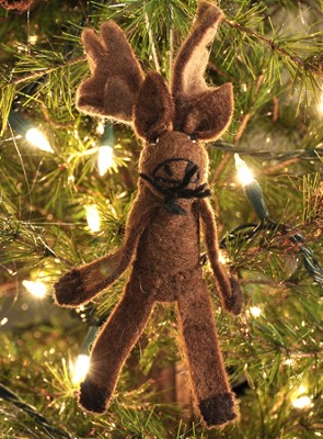 Felt Ornament Finger Puppet, Moose, Fair Trade Product  -