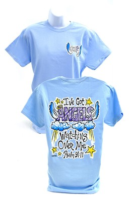 Girly Grace Angels Shirt, Blue  Small  -