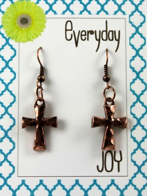Hammered Cross, Copper Toned Earrings  -