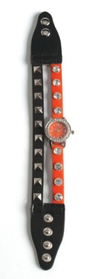 Double Band Watch with Cross, Black and Orange with Rhinestones  -