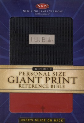 NKJV Personal Size Giant Print Reference Bible, Black/Red  Imitation Leather  -