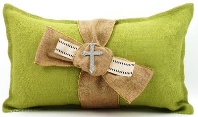 Burlap Pillow with Bling Cross, Green  -
