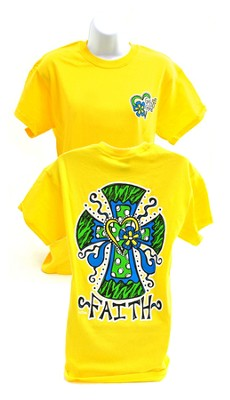 Girly Grace Faith Cross Shirt, Yellow,  XX-Large                                                                     -