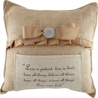 Love Is...Burlap Pillow with Bow   -
