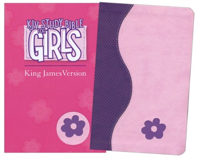KJV Study Bible for Girls, Duravella, Duotone, purple/pink - Imperfectly Imprinted Bibles  -