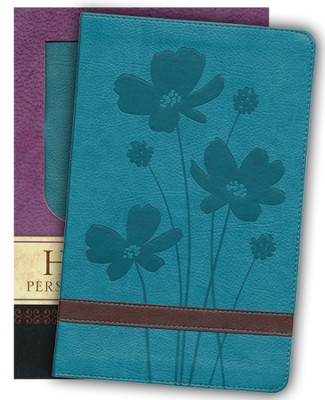 GW Personal Size Giant Print, Duravella, Flower Design, turquoise/brown  -