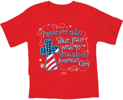 American Girl Patriotic Shirt, Red, Youth Large  -