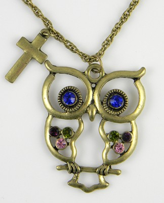 Owl Pendant, Colossians 3:16, Jeweled  -