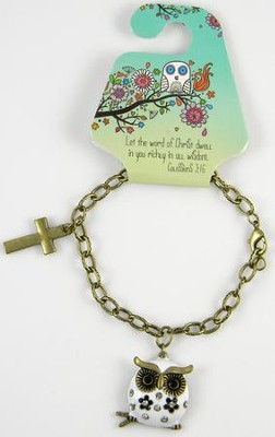 Owl Bracelet, Colossians 3:16, White  -