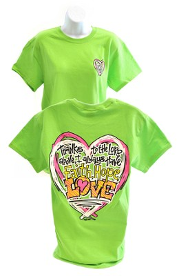 Girly Grace Faith, Hope, Love Shirt, Lime,  Small  -