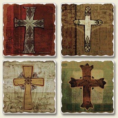 Tumbled Coasters, Crosses, Set of 4  -