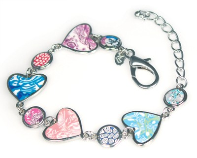 Hearts Medallion Bracelet, Multicolored  -