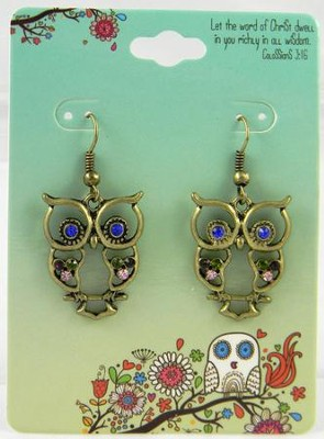 Owl Earrings, Colossians 3:16, Jeweled  -