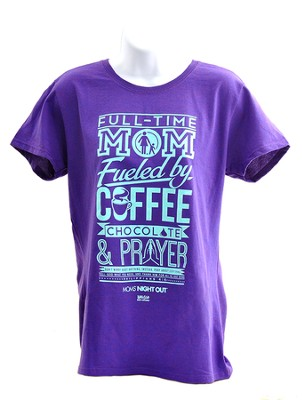 Full Time Mom Shirt, Lilac, Large  -
