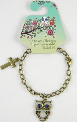 Owl Bracelet, Colossians 3:16, Jeweled  -
