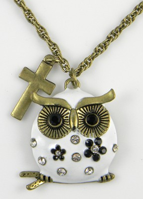 Owl Pendant, Colossians 3:16, White  -