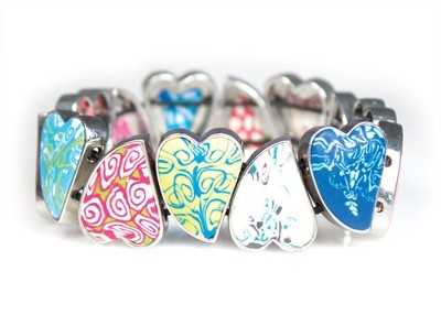 Hearts Medallion Bangle Bracelet, Multicolored  -