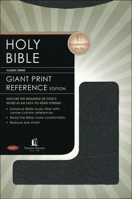 NKJV Giant Print Center-Column Reference Bible, Bonded leather, black  -