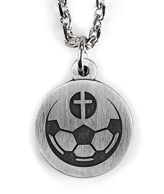 Soccer Ball and Cross Necklace  -