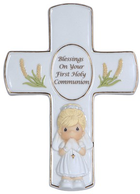 Precious Moments, Blessings On Your First Holy Communion Tabletop Cross, Girl  -
