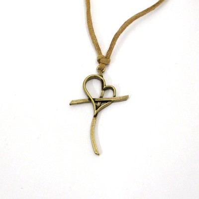 Love Cross Pendant, Copper  -