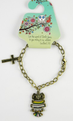 Owl Bracelet, Colossians 3:16, Multicolored  -