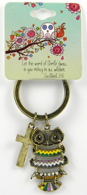 Owl Key Chain, Colossians 3:16, Multicolored  -