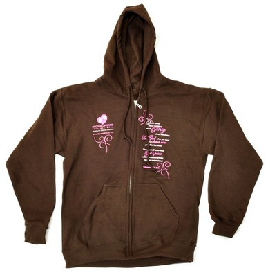Moms in Prayer Sweatshirt, Brown with Hood - Medium   -