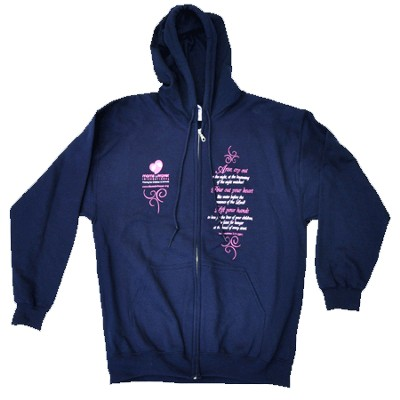 Moms in Prayer Sweatshirt, Navy Blue with Hood - Large  -