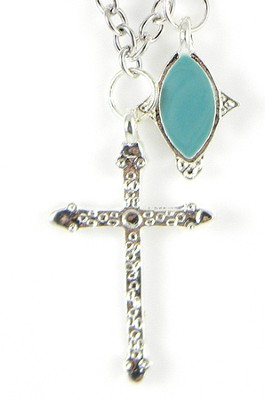 Cross with Green Bead Necklace  -
