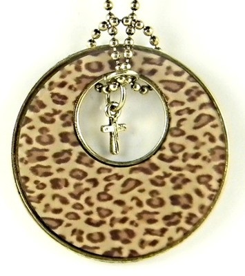 Circle Pendant with Cross, Leopard Print  -