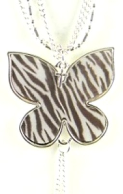 Butterfly Pendant with Cross, Zebra Print  -