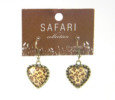 Leopard Heart Earrings  -