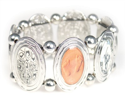 Footprints Oval Stretch Bracelet  -