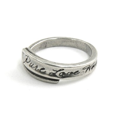 Pewter Pure Love Waits Wrap Ring, Size 11  -
