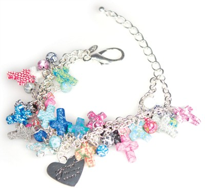 Cluster Cross Bracelet, Multicolored  -