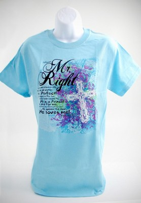Mr. Right Shirt, Light Blue, Medium  -