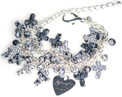 Cluster Cross Bracelet, Black and White  -