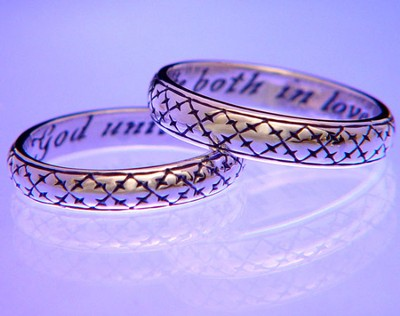 God Unite Us Both In Love, Sterling Silver Ring, Size 5  -