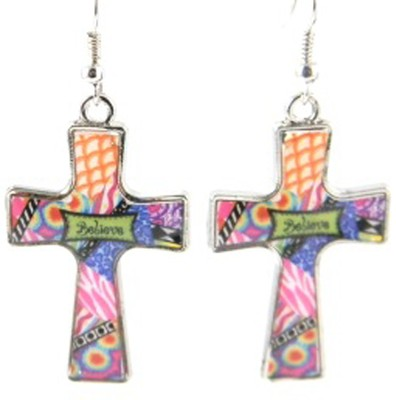 Believe Cross Earrings, Dana Designs  -