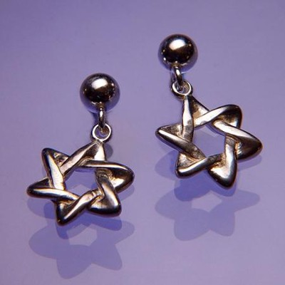 Star of David, Sterling Silver Earrings   -