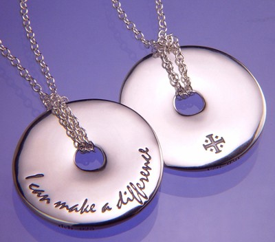I Can Make A Difference, Sterling Silver Disc Necklace  -